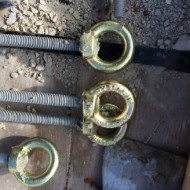 """Figure 35: Reinforcement of stacks. Eyelets at the end of the vertical rods. These were """"speared"""" by the transverse rods"""