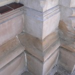 We built up stone work using compatible materials