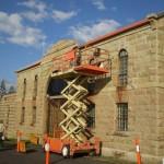 Trial Bay Gaol repointing granite stonework.