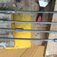 Figure 34: Reinforcement of stacks. Vertical rods, these were dropped down the flue